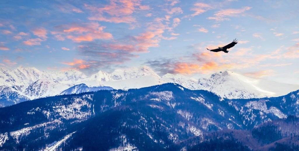 Winter mountains panorama of Zakopane,  High Tatra Mountains, Poland
