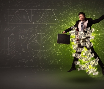 Cheerful-businesman-jumping-with-dollar-banknotes-around-him-on-background