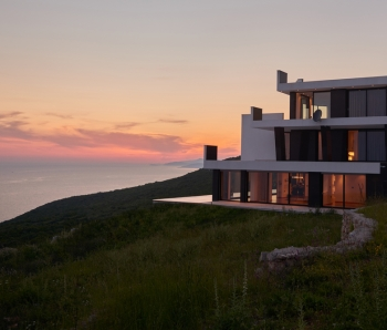 External-view-of-a-contemporary-house-modern-villa-at-sunset