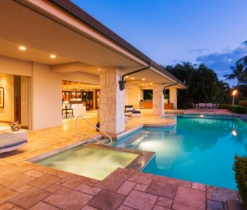 Luxury Homes with Pool at Sunset