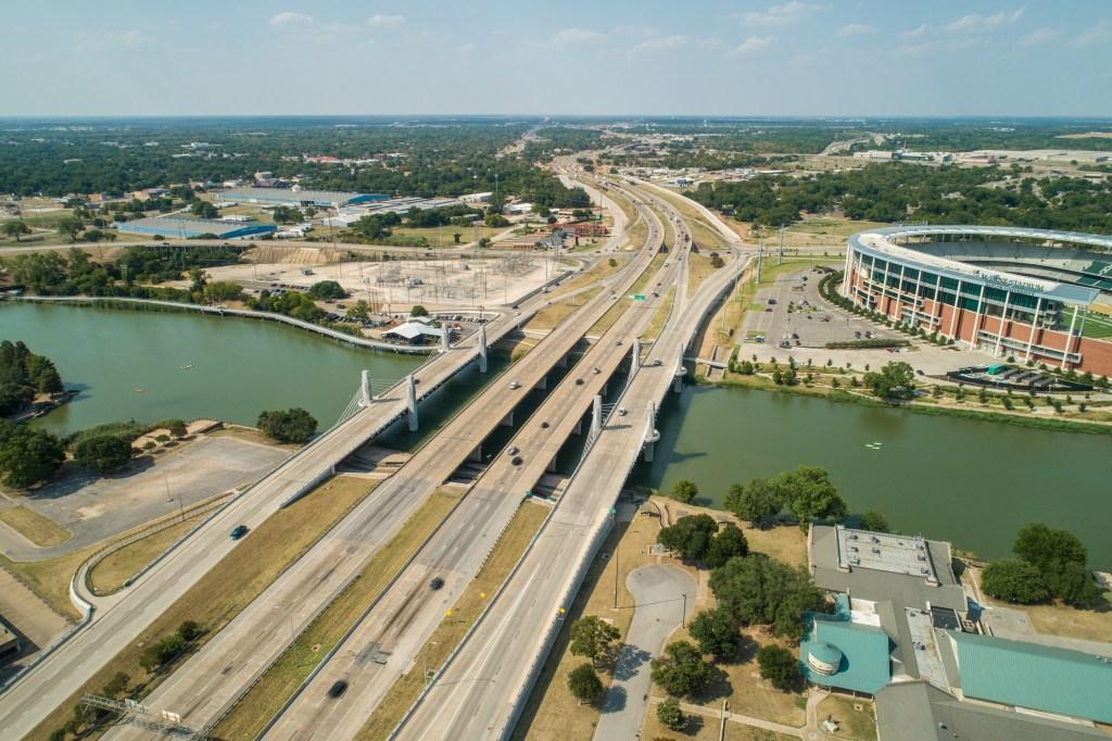 Aerial image bridges JH Kultgen expressway