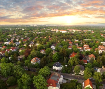 Aerial View of suburben Houses n sunset - germany